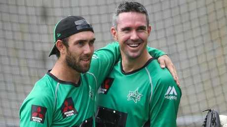 Glenn Maxwell and Kevin Pietersen developed a close bond at the Stars. Picture: Ian Currie