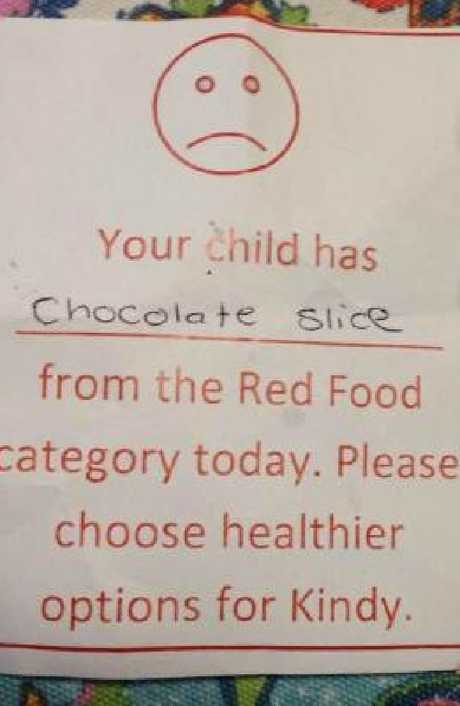 The note said to include healthier snacks in the future.