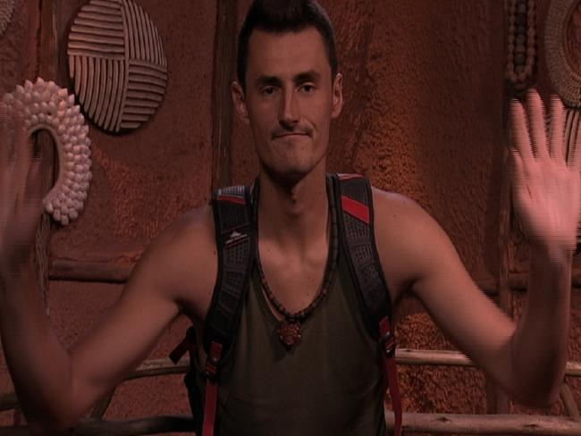 Bernard Tomic leaving the jungle on I'm A Celebrity ... Get Me Out Of Here! Picture: Supplied