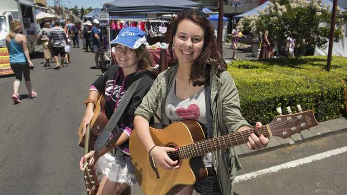 Busking at Margaret Street Markets are Sarah Lamshed (left) and Rhianna McKechnie.