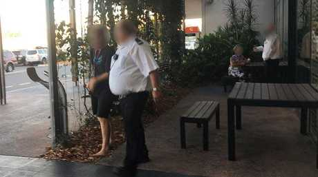 Security officers break up a couple performing sexual act at a Hervey Bay shopping centre.