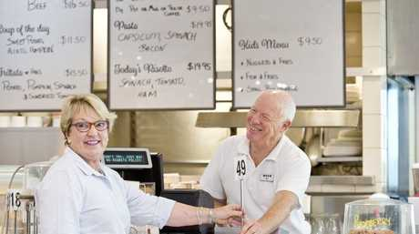 Owner Kit Jones bids farewell to long term customer Sue Lyons as The Cafe at Myer will close by the end of the month, Friday, February 9, 2018.
