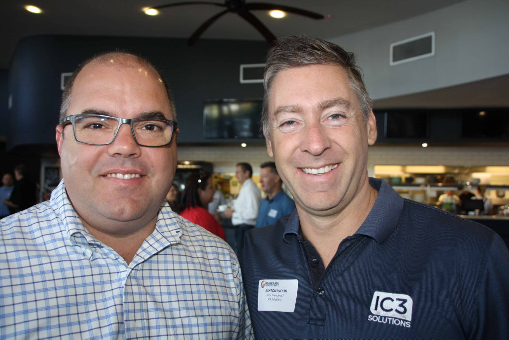 Image for sale: Brendon Murray of Bentley's and Ashton Wood IC3 Solutions at Brightwater Hotel for the Kawana Chamber of Commerce breakfast meeting.