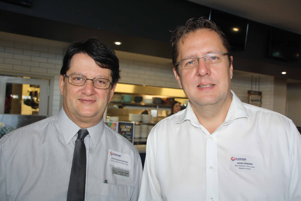 Image for sale: Colin Allen-Waters of Kawana Waters State College and John Orning of Best Western Kawana at Brightwater Hotel for the Kawana Chamber of Commerce breakfast meeting.