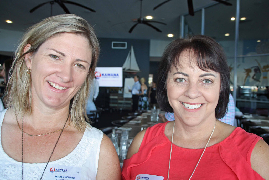 Image for sale: Louise Nousala of Accounting Matters with Robyn Dobson of Advance Finance at Brightwater Hotel for the Kawana Chamber of Commerce breakfast meeting.