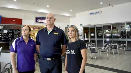 GHOST TOWN: Worried about the lack of business in Bridge Street Plaza complex are (from left) Born and Bread Bakery owner Alison Reeves, Bridge Street Plaza Pharmacy owner Peter Degnian and RH Design Kristie Sharpley.
