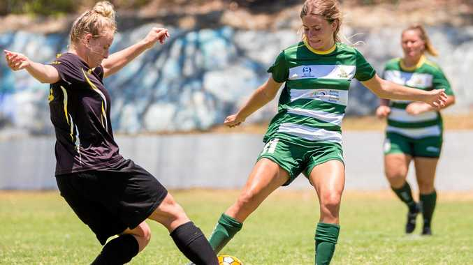 Western Pride footballer Zoe Lambi works hard the last time the team played Mudgeeraba.