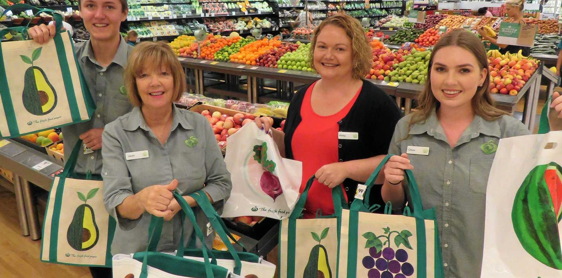 IN THE BAG: Staff Tome Pearce, Janet Reid, Kirsty Cousins and Chloe Garrett from Woolworths Noosa Civic present their re-usable bags.