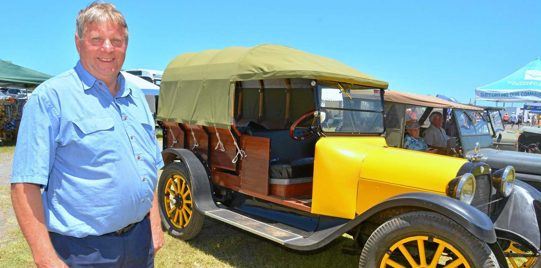 Vintage car collector Allan Keys, from Federal, with his 1916 Dodge, a hawker's vehicle.