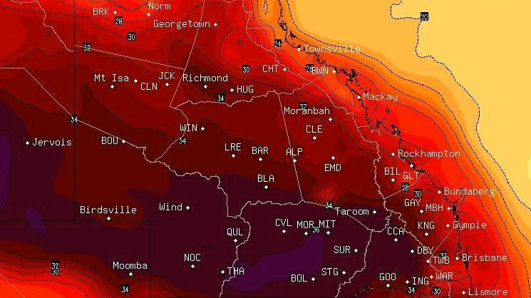Extreme temperature model of Gympie in the midst of an extreme heatwave on Saturday that will last the week.  Courtesy of BSCH Stormcast.