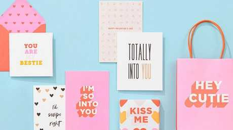 Kikki K's love-themed cards and gift wrapping.