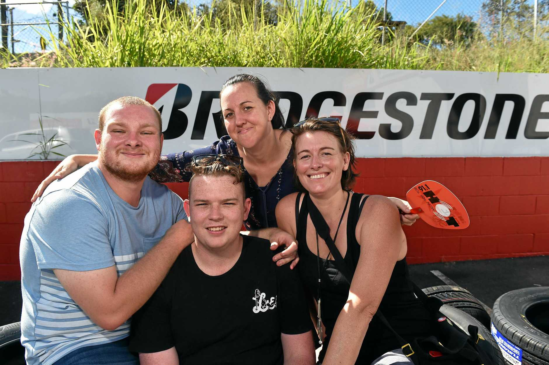SWAPPING VOWS: Two Coast gay couples will be married next week, pictured Jordan Short and partner Wayne Paluszkiewicz with couple Amy Carey (Chook) and Natalie Carey, thanks to Hot 91 Radio Zinc.