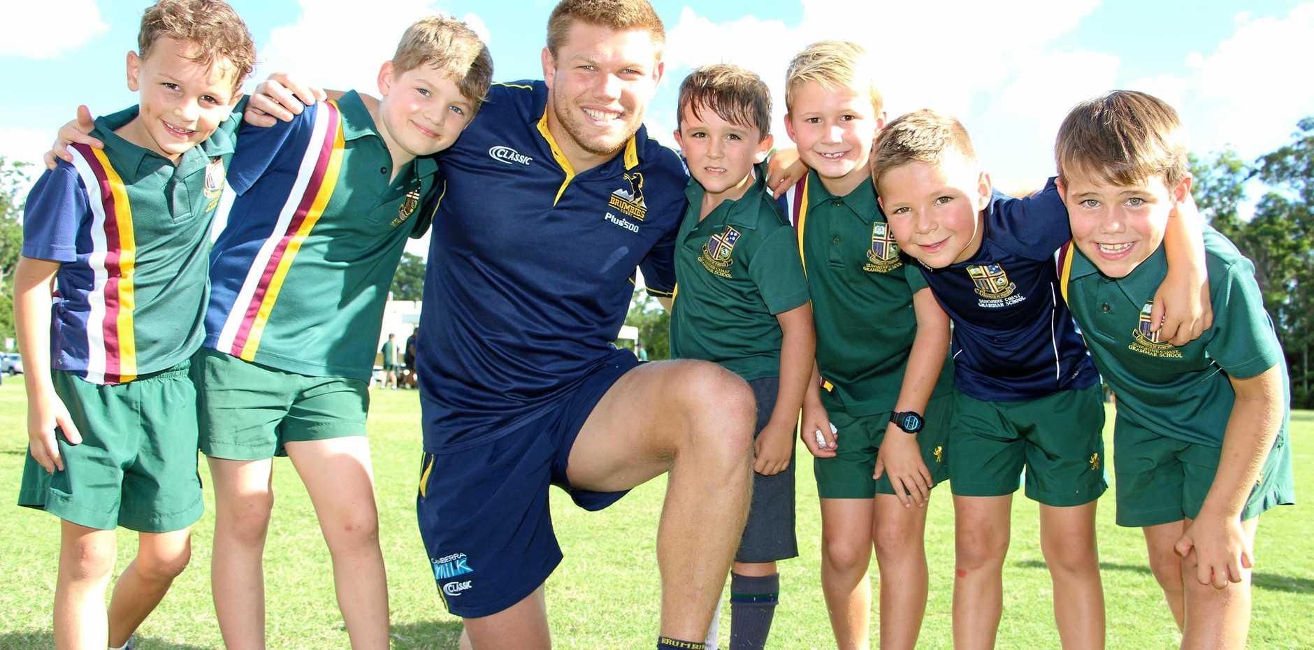 BACK AT SCHOOL: Blake Enever at his old stomping ground, Sunshine Coast Grammar.