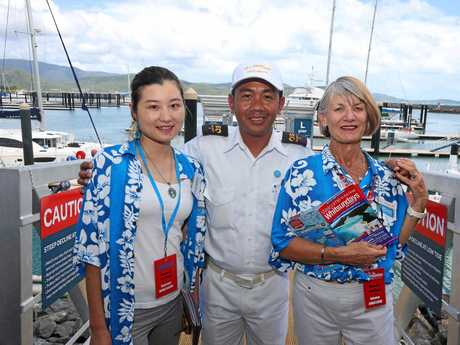 Cruise Ship Ambassadors Cherry Cai and Gaelle O'Sullivan with the Sea Princess' Ariel Panis at Abell Point Marina.