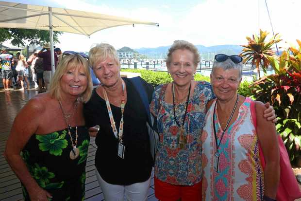 Cruise ship veterans Jane Werner, Pam Coyle, Gillian Strachan and Sharelle Buckley disembark form the Sea Princess at Abell Point Marina.