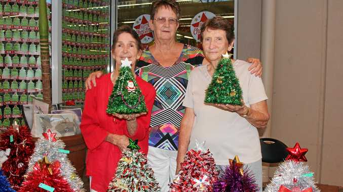 The Midge Point Elves Bonnie Bryant, Vern Sunderland and Barb Butterfield were outside Coles in Cannonvale last year.