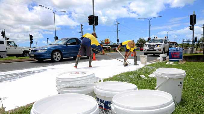 Nine 20 litre paint containers were thrown from a truck on Shute Harbour Rd at about 12pm.