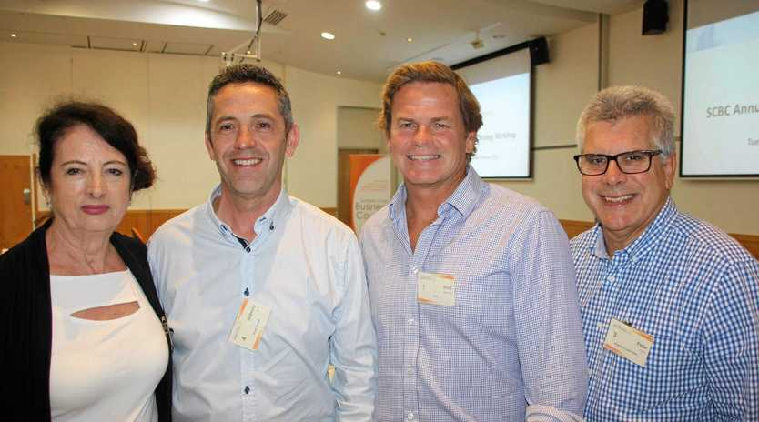 Business council chair Sandy Zubrinich, Anthony Dow of Noosa Council, Brad Williams of RPS and Peter Pallot at the Sunshine Coast Business Council Strategic Direction Discussion 2018 at Ramada Marcoola Resort.