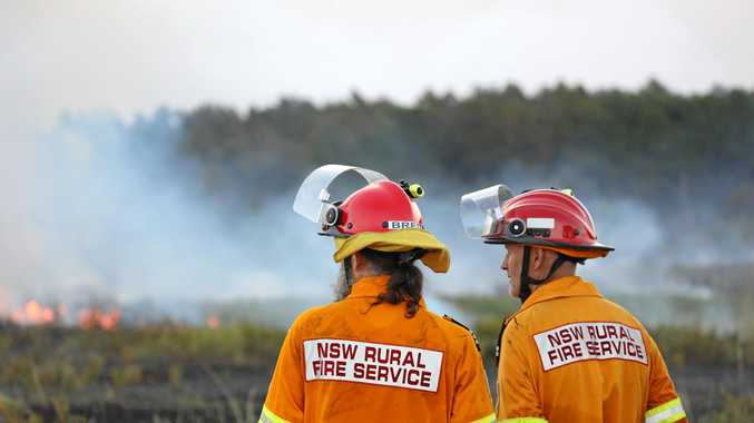 Uki and Cudgen volunteers watch over a backburn at  the Kings Forest fire on Tuesday, January 23.