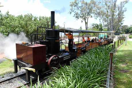 The Mary Ann steam train makes its way through Queens park.