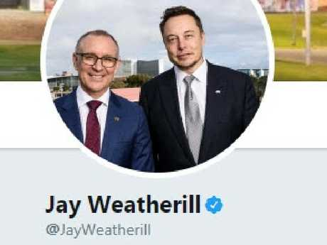 SA Premier Jay Weatherill was using a picture of himself with Elon Musk for his Twitter profile.