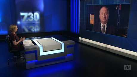 Deputy Prime Minister Barnaby Joyce was clearly uncomfortable on 7:30, and spoke a lot about hurt, not love. Picture: ABC