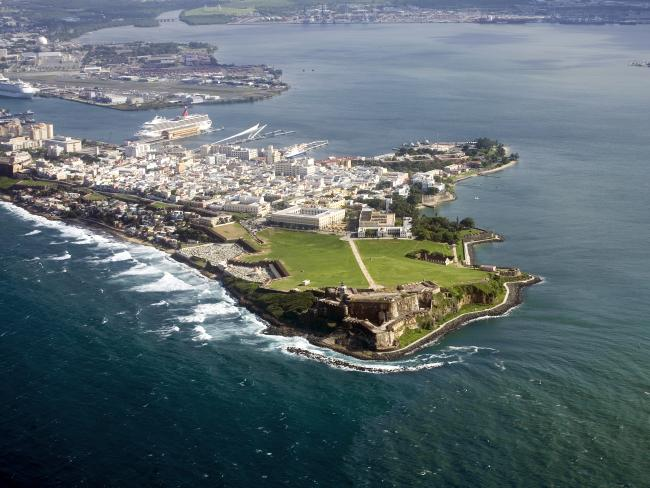 Aerial view of El Morro in Old San Juan, Puerto Rico.