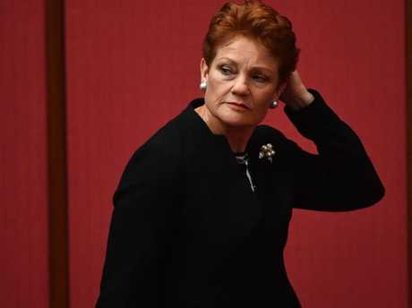 For the first time since the election, The Greens now have a higher primary vote at 10 per cent than One Nation. Pictured is One Nation Leader Senator Pauline Hanson. Picture: AAP Image/Mick Tsikas