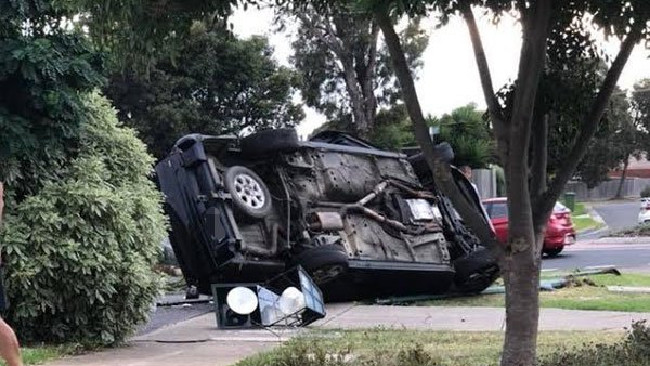 Police are searching for two men following a crash and subsequent pursuit in Cranbourne. Picture: 3AW, Twitter