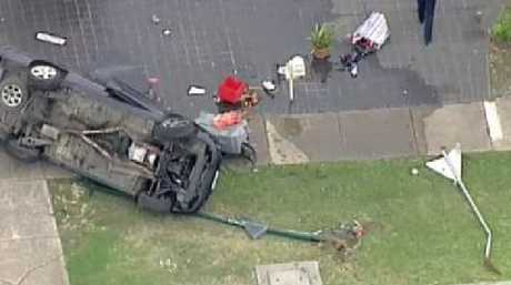 Police hunting 2 men after they crashed a stolen car in Cranbourne. Picture: Dougal Beatty
