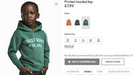 """H&M apologised and removed an ad featuring a this child in a hoodie with the words """"coolest monkey in the jungle"""". Picture: H&M via AP"""