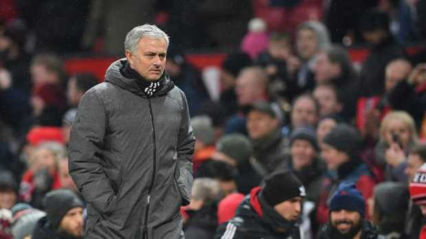 Manchester United's Portuguese manager Jose Mourinho leaves the pitch at the end of the English Premier League football match between Manchester United and Huddersfield Town at Old Trafford in Manchester, north west England, on February 3, 2018. / AFP PHOTO / Paul ELLIS / RESTRICTED TO EDITORIAL USE. No use with unauthorised audio, video, data, fixture lists, club/league logos or 'live' services.