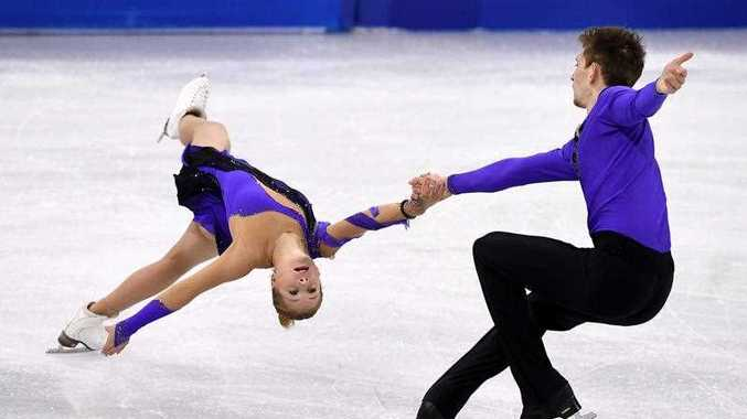 Australian Pairs figure skaters Harley Windsor and Ekaterina Alexandrovskaya are seen performing their routine during the Pairs Short Program at the ISU Four Continents Figure Skating Championships at Gangneung, South Korea, Saturday, Feb. 18, 2017. (AAP Image/Dan Himbrechts)