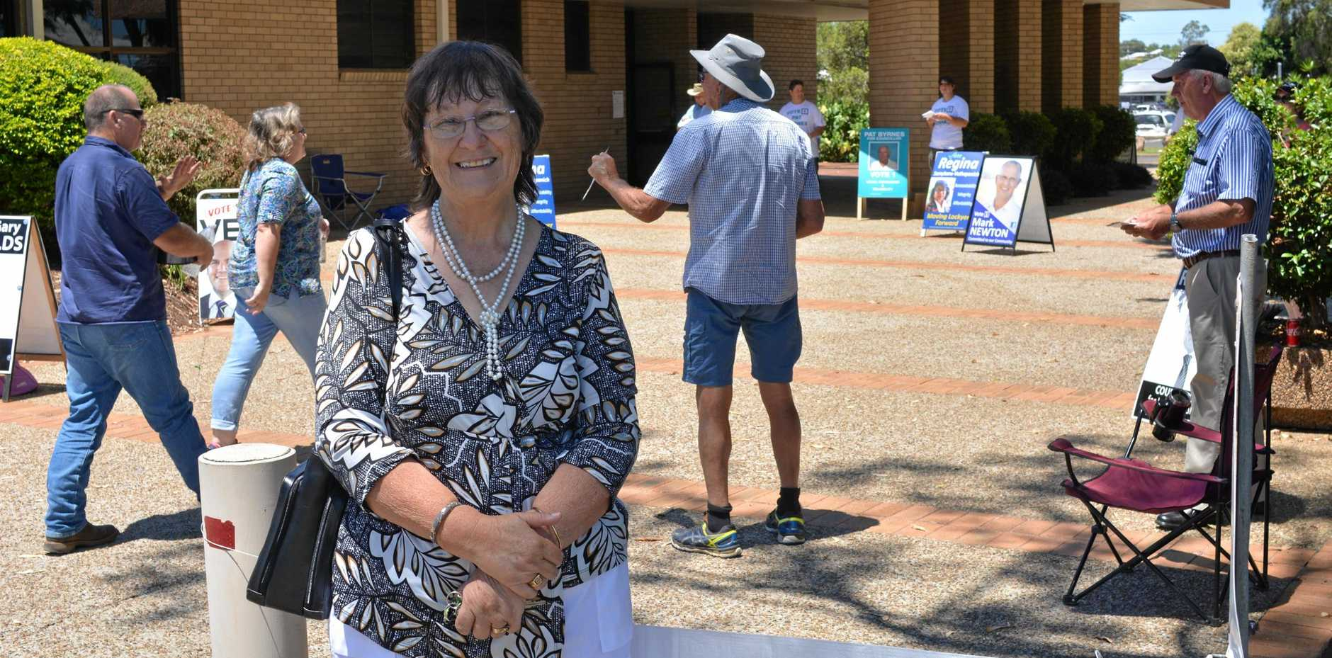 HAVING HER SAY: Carrol Gothmann at the Polling booth at Gatton Shire Hall.