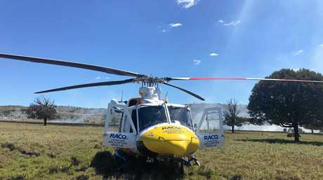 The RACQ Capricorn Helicopter Rescue Service airlifted a man who was severely burnt to more than half of his body.