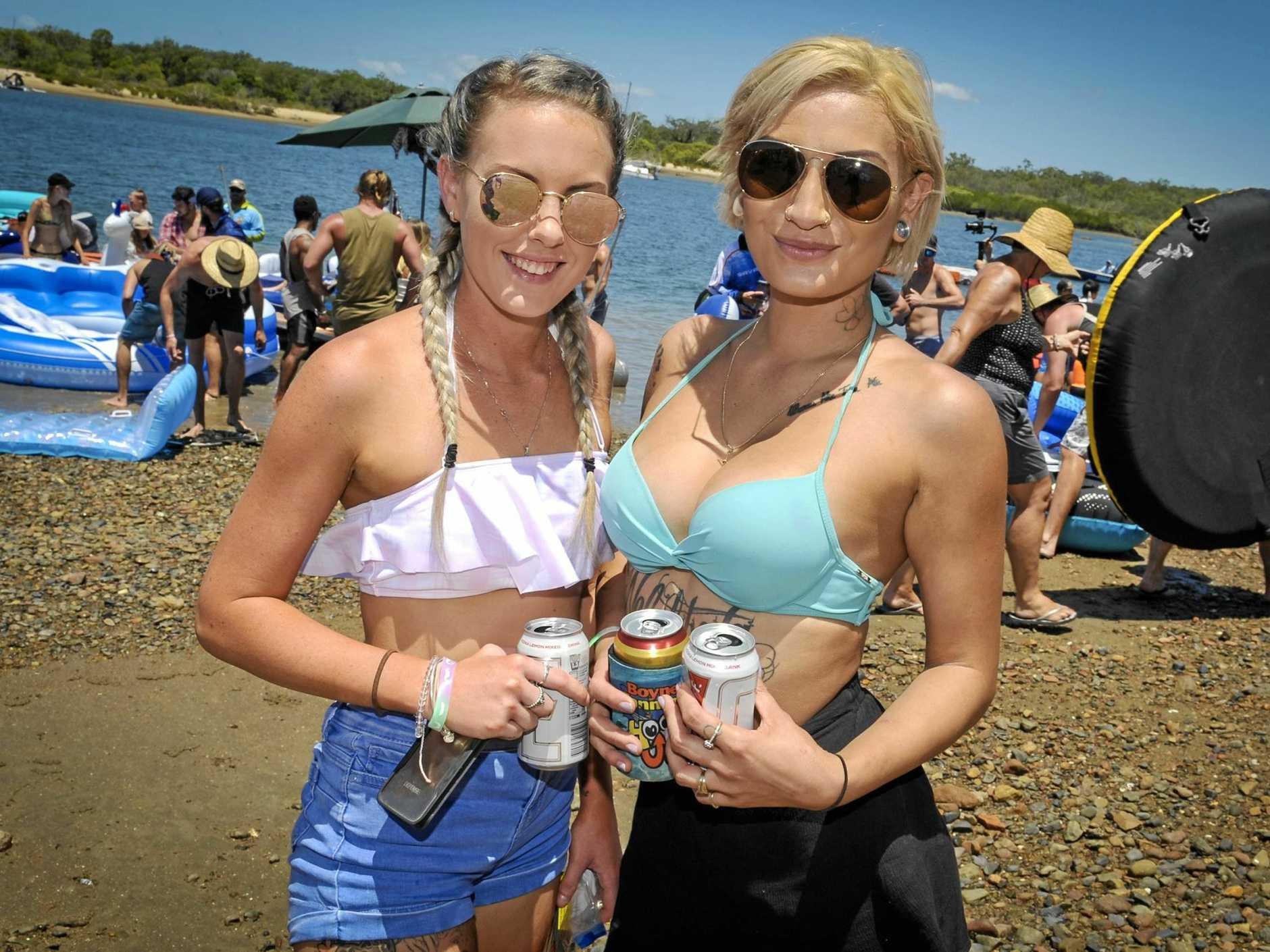 Amy-Lee Beard and Tanisha Smith at the Boyne Island Raft Party, 10 February 2018.