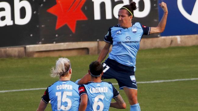 Lisa De Vanna celebrates after putting the result beyond doubt. (AAP Image/Daniel Munoz)