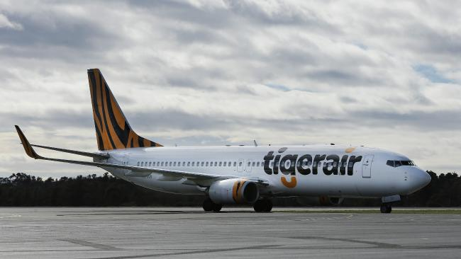 The boarding of a Tiger Airways flight was delayed by an evacuatiuon alert at Hobart airport. Picture: MATHEW FARRELL