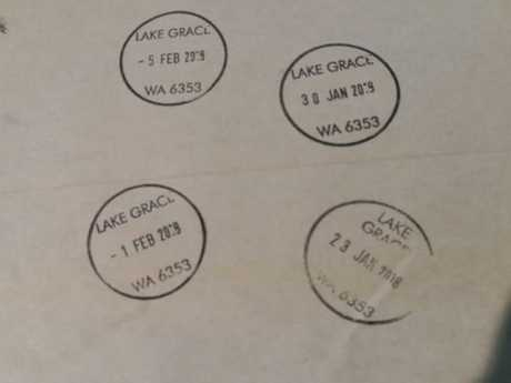 The letter arrived in Lake Grace, Western Australia — where it stayed for weeks. Picture: Supplied