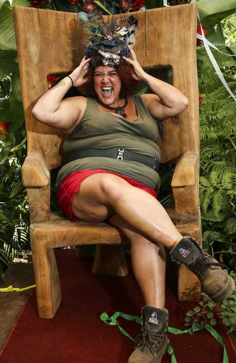 Winner of the mind game: Last year's I'm A Celeb winner Donovan with her crown in South Africa. Picture: Dylan Robinson