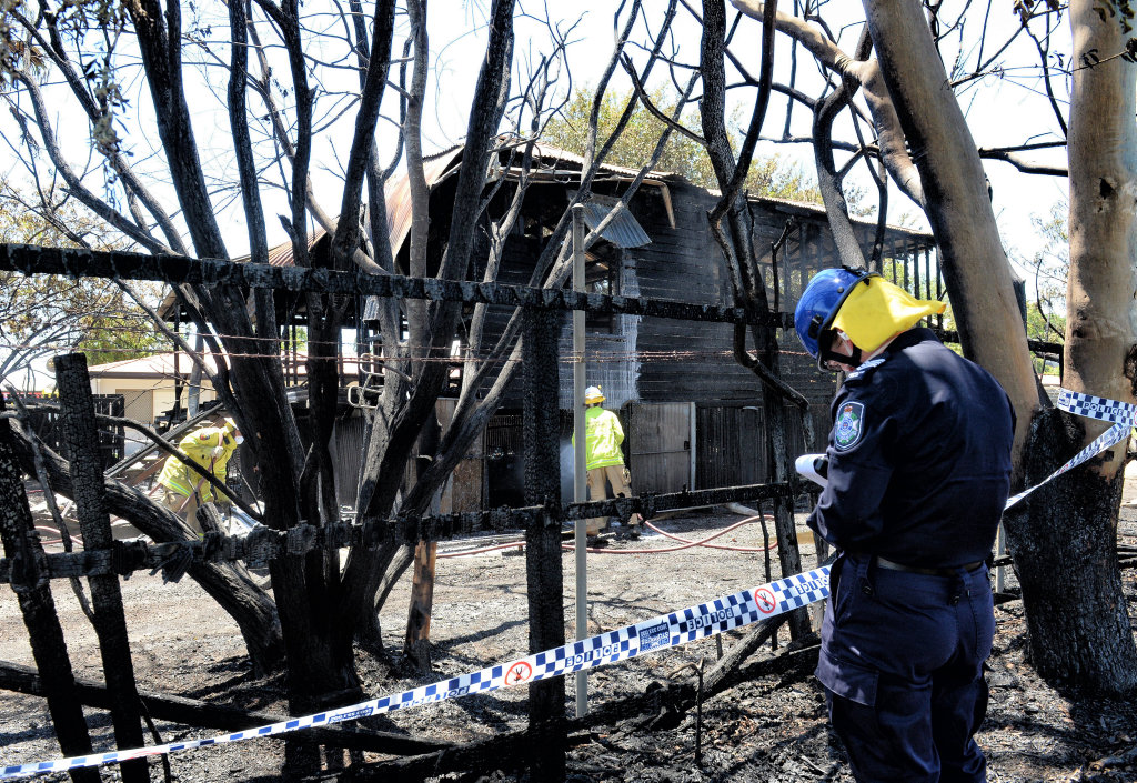 Aftermath of a fire on Brisbane Street in West Ipswich.