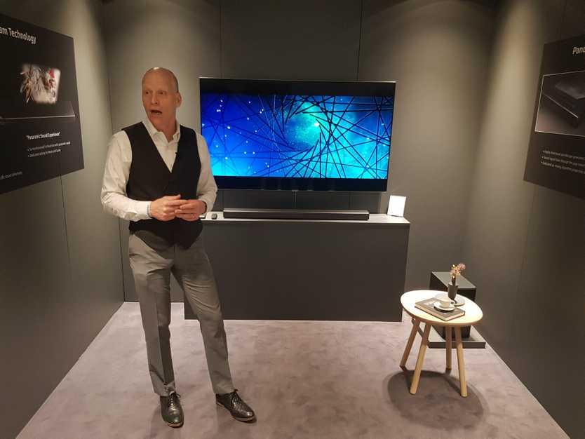 Head of Samsung audio Lab in California Allan Devantier with the new mid-range soundbar the N650.