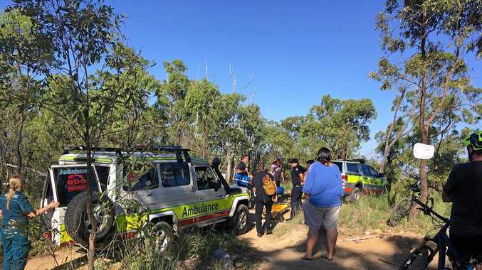 A boy suffered a suspected broken arm and leg on the First Turkey mountain bike tracks on Mount Archer this morning.