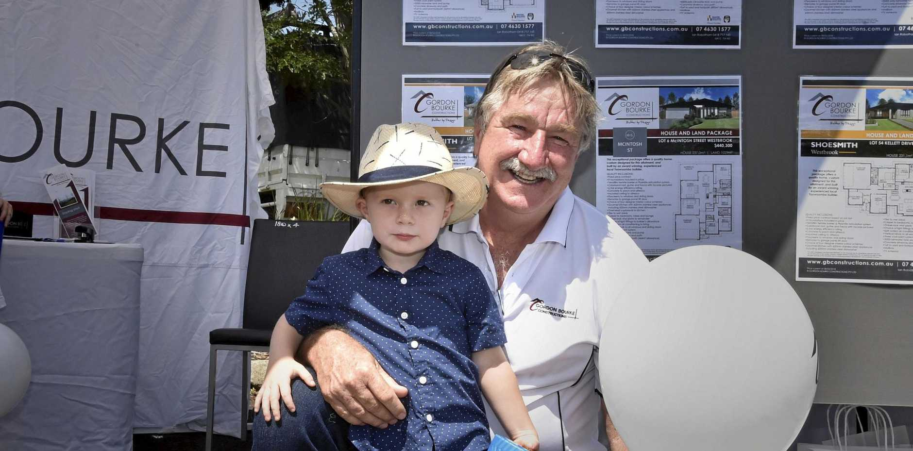 ON DISPLAY: Harry Golebly, 3, looked stylish with his grandfather Ian Robotham, from Gordon Bourke Constructions, at the House and Land Expo on Saturday.