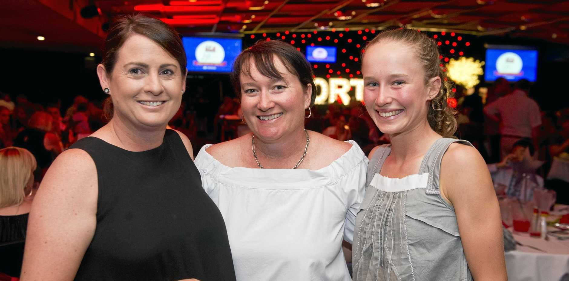 AWARD NIGHT: Enjoying the annual Sports Darling Downs award night are (from left) Jenny Anderson, Jody Erbacher and Brielle Erbacher.
