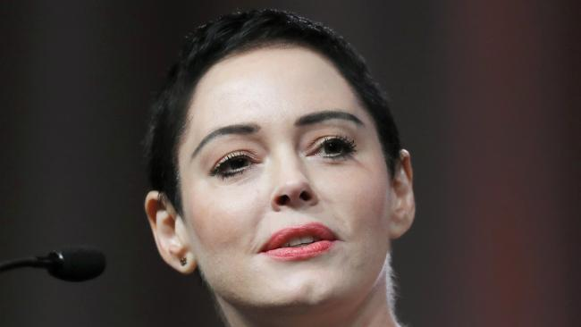 Actress Rose McGowan speaks at the inaugural Women's Convention in Detroit. Picture: Paul Sancya/AP