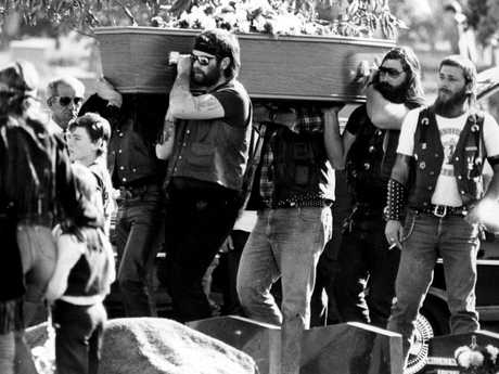 Bandidos bikie gang members acts as pallbearers at the funeral of two of their own at in September 1984 who were killed during the Milperra massacre. Picture: Ian Mainsbridge