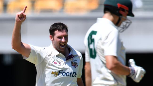 Luke Feldman celebrates anotehr wicket.