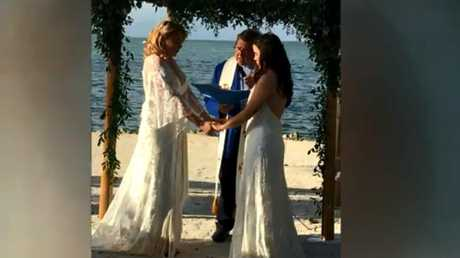 Openly gay teacher Jocelyn Morffi fired after posting wedding photos to social media. Picture: Supplied.