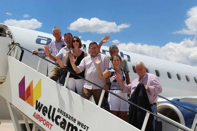 Preparing to jet off to Darwin for the It's A Bloke Thing lunch are (from left) Denis Wagner, Shane McGuire, Paula McGuire, David Russell, Don Russell, Liz Wagner and John Wagner.